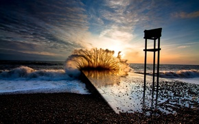 nature, landscape, coast, stones, sea, evening, sunset, sky, pier, storm, waves, wave, background, wallpaper
