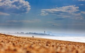 natura, plaa, wybrzee, piasek, wybrzee, morze, niebo, horyzont, ludzie