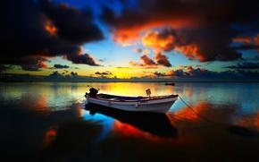 небо,  лодка,  озеро