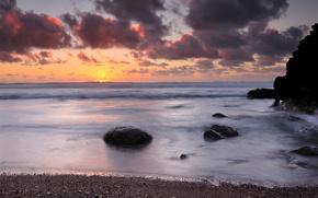 paesaggio, natura, costa, pietre, mare, onde, orizzonte, tramonto, cielo