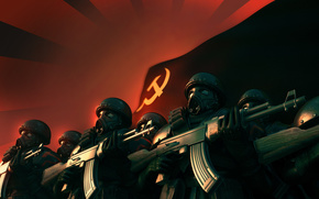 ussr, USSR, Soldiers, machine, red, sickle, hammer, mask
