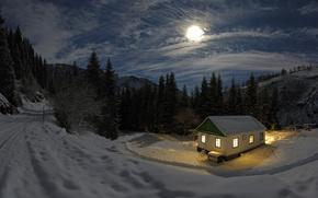 notte, neve, casa, foresta, Montagne