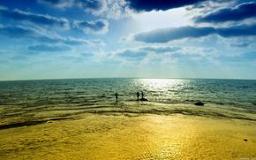пляж,  небо,  песок,  море,  лето