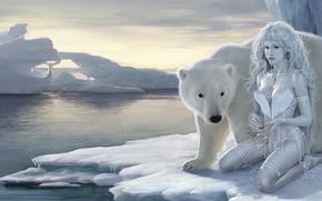 natura, fantasia, orso bianco, ragazza