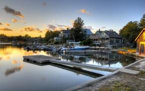 sera, fiume, ormeggio, barca, casa