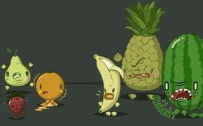 fruit, fruits and animals, banana, watermelon, pineapple, orange