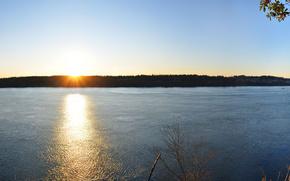 foresta, sole, acqua, tramonto