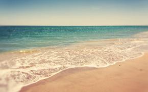 Summer, sea, beach, water, sky, waves, flow, Vintage