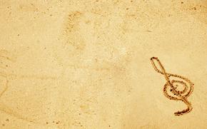 chiave, musica, sabbia, disegno