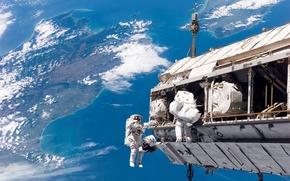 Небо,  космонавты,  Шаттл,  земля