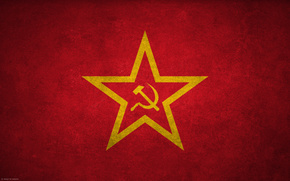 USSR, star, hammer and sickle, flag, banner, holiday, victory, red