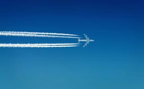 самолёты,  настроение,  настроения,  небо,  небеса,  просторы,  авиация,  белый,  дым,  следы,  полоса,  полосы,  скорость,  полёт,  путешествие,  путешествия,  шлейф