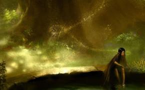 фентези, эльф, девушка, озеро, лес, вода, отражение, дерево