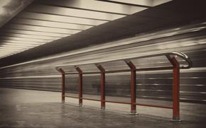metro, budynek, balustrada