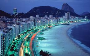 Rio, Brasile, notte, semaforo, ricorrere, spiaggia, traccia, casa