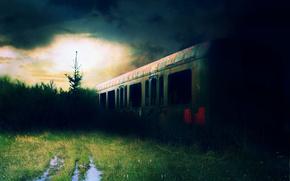 列車, 草, 夕日, 日光, 水たまり