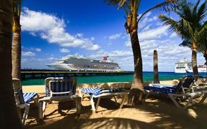 корабль,  море,  пирс,  пальмы,  шезлонги,  солнце