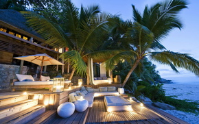 Palms, Trees, paradise, sea, home, sofa, Lamps