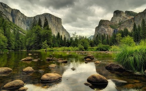 水, 石头, 森林, 山
