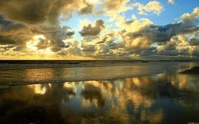 море,  песок,  вечер
