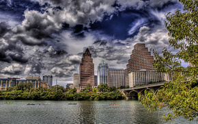 high-rise buildings, river, Boat, bridge, tree, clouds