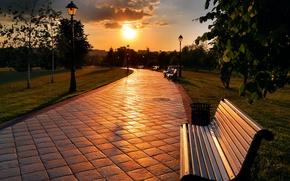 city, bench, track, sun, sunset