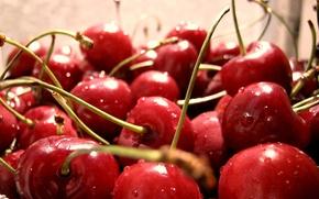 ягоды,  черешня,  капли
