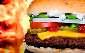 hamburger, food, sandwich, fast food, Fast Food, vegetables, cheese, sauce, roll, sesame, fire, flame, cutlet