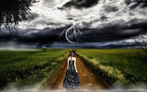 girl, road, grass, clouds, moon, lightning, Trees