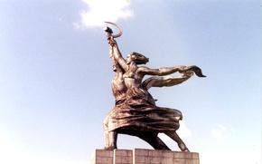 employee, peasant woman, sculpture, monument, USSR, retro
