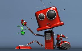 robot, rosso, verde, situazione