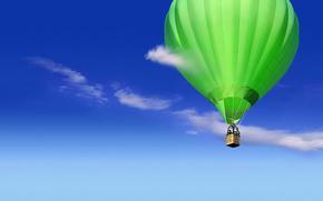 воздушный шар,  небо,  облака,  зеленый
