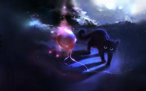 chat, chat, dessin, ballon