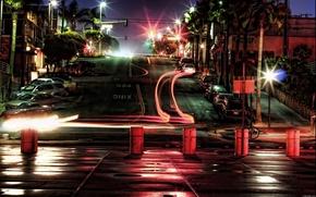 notte, strada, semaforo