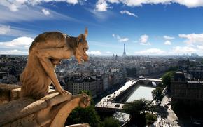 Paris, chimera, sculpture, form, Street, home, center, France