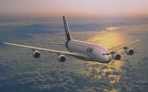 Aerobs, A380, vuelo, las nubes