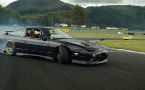 nissan, 240, sx, chuki, drift, car, black, Mountains, cars, machinery, Car