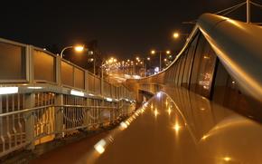 bridge, street, lights