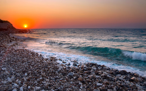 海, 鹅卵石, 日落, 地平线, 波浪
