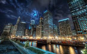 город,  Чикаго,  канал,  вода,  огни,  отражение,  ночь