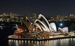 Австралия,  океан,  Сидней,  ночь