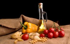 бутылка,  овощи,  макароны,  материя