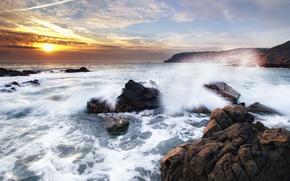sea, stones, waves, sky