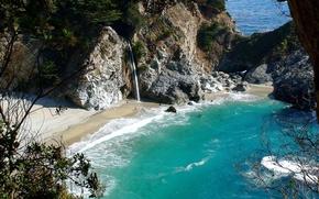 lagoon, beach, sea, waterfall, paradise