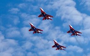 высота,  полет,  миг-29,  многоцелевой,  истребитель,  стрижи,  пилотажная,  группа,  облака,  небо