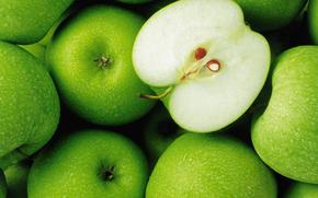 яблоки, еда, зеленый, капли