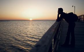 утро,  море,  пирс,  восход,  солнце,  мужчина