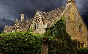 Anglia, dom, niebo, mtny