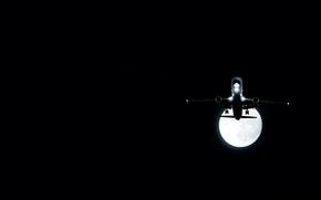 plane, moon, night
