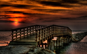 ponte, cielo, baia, notte